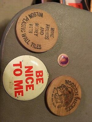 2 Wooden Nickels, a Be Nice Pin from 1960's and a Disney Piece