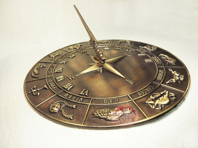 """Decorative Solid Bass Constellations Sundial - 12"""" inches wide"""