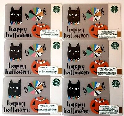 Lot of 6 Starbucks Card 2017 HAPPY HALLOWEEN CANADA VERSION NEW