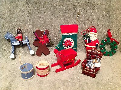 Christmas ornament lot of 9 Miscellaneous Gold Bead hangers included