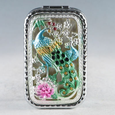 Exquisite Chinese Cloisonne Handmade Peacock Mirror JZ2039