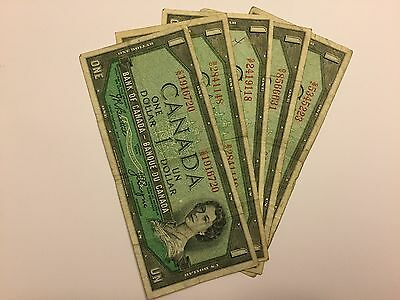 Lot of 5 1954 Canadian $1 bills - One Dollar Notes