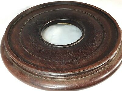 """RARE LARGE DONUT CHINESE ANTIQUE CARVED WOOD STAND BASE VASE 9 5/8""""Dia.LOT#171"""