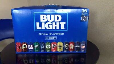 Bud Light NFL commemorative display case w/all 2017 season 32 Bud Light NFL cans