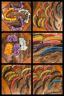 20 TRUE VINTAGE 1980s Banana Hair Clips Scrunchies Mixed Colors