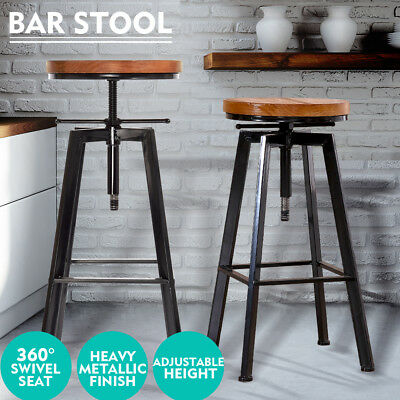 Vintage Retro Industrial Bar Stool Steel Home Kitchen Cafe Barstool Swivel Chair