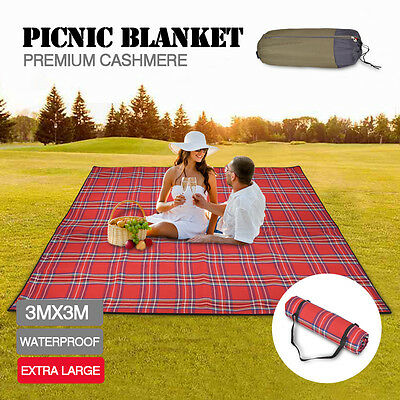 3X3m Extra Large Picnic Blanket Cashmere Rug Waterproof Mat Outdoor Camping