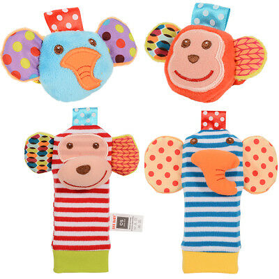 US Stock 4pcs Soft Toy Animal Baby Infant Kid Hand Wrist Bells Foot Sock Rattles