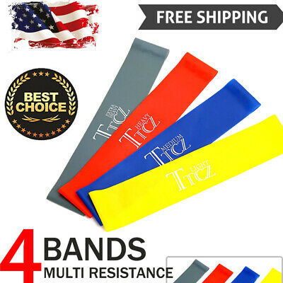 Resistance Bands Loop Set Of 4 Exercise Workout CrossFit Fitness Yoga US Shippin