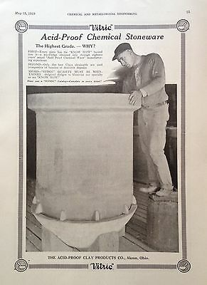 1919 Ad(G11) Clay Products Co. Akron, Ohio. Chemical Stoneware Acid-Proff