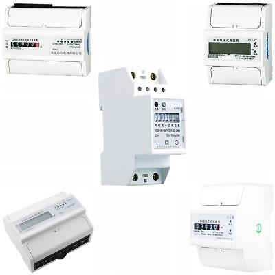 50Hz Single Phase , 3 Phase DIN Rail kWh Watt Hour Energy Meter LCD , Analog