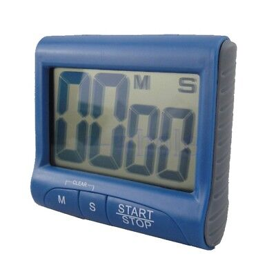 Magnetic Large LCD Screen Digital Kitchen Timer Alarm Count Up Down Blue DT