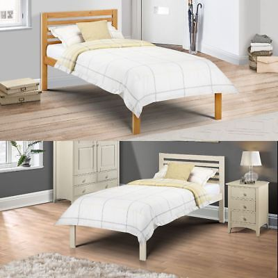Slocum Wood Solid Pine Bed in Pine or White 3ft Single with 4 Mattress Options