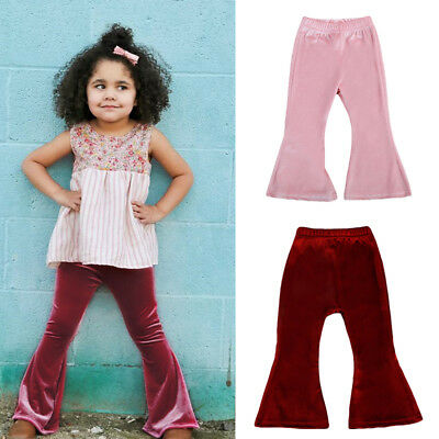 Toddler Kids Baby Girls Bell Bottom Wide Leg Stretch Pleuche Pants Long Trousers