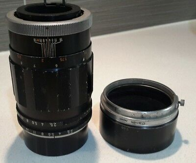 Canon 135mm F/2.5 Super Canomatic R Lens with Original Steel Hood