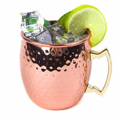 4pcs 18 oz Moscow Mule Mug Cup Drinking Hammered Copper Brass Steel Gift Set US