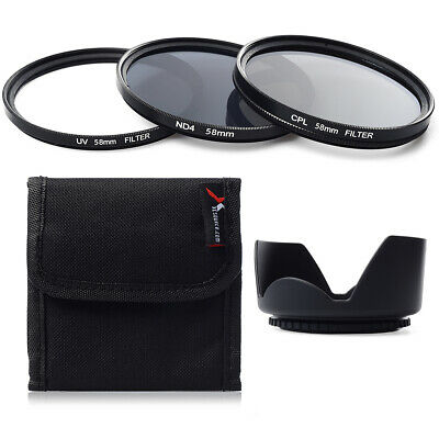 UV CPL ND4 Filter Set + Lens Hood 58mm For Canon 1100D 700D 600D 18-55mm LF282