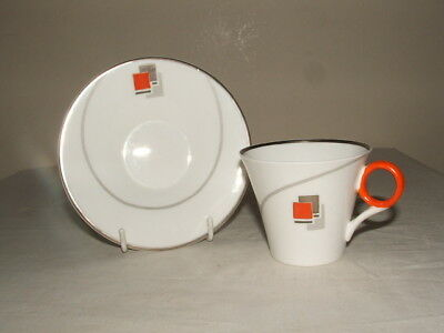 Shelley Art Deco Regent Curved Line & Blocks  Coffee Duo  Stunning