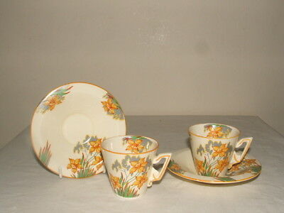 Burleigh Ware Art Deco  Zenith Shaped Daffodil Coffee Duos Truly Stunning