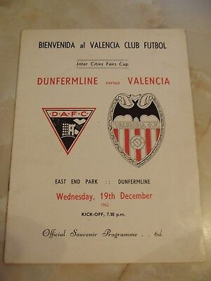 DUNFERMLINE ATHLETIC v VALENCIA INTER CITIES FAIRS CUP GAME 1962-63 SEASON