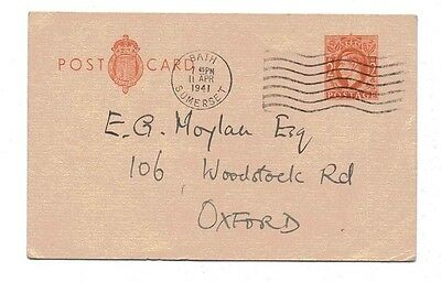 1940 H&B CP100a Used to Oxford KGVI 2d Orange L26 PS Postcard Lovely