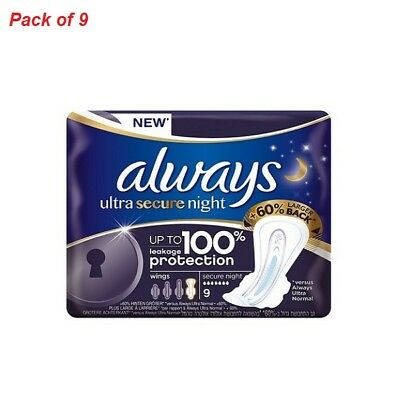 Cotton Night Sanitary Towels with Wings Always Ultra Soft Skin Care Pack of 9
