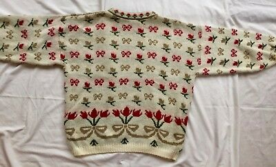 Vintage Floral Jumper Size M/L 10/12/14 Cream Red Green Knit Cosy Sweater