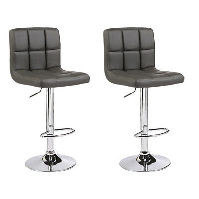 2 x Grey Bar Stools Chrome Faux Leather Kitchen Pub Barstool Breakfast Bar Chair