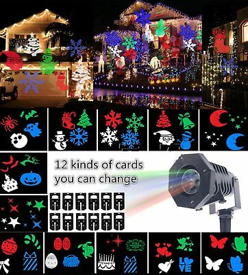 12Pattern LED Moving Laser Projector Landscape Stage Light Xmas Party Outdoor AU
