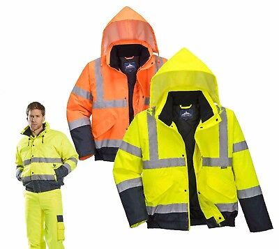 Portwest S266 Men Hi Vis Bomber Jacket Waterproof Reflective Tapes Coat Workwear