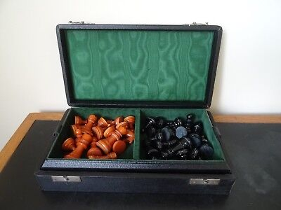 Vintage Chess Set And Board, Early Plastic