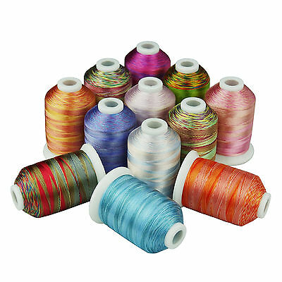 SIMTHREAD 40WT 12 Variegated Colors Polyester Embroidery Machine Thread, 1000M
