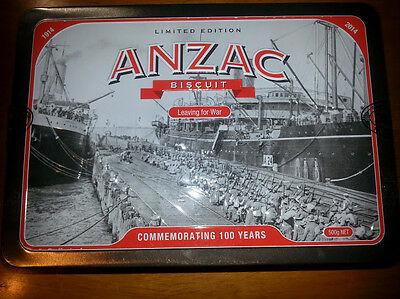 """COLLECTABLE ANZAC BISCUIT TIN LIMITED EDITION """"Leaving For War """""""
