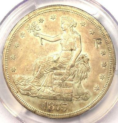 1875-S Trade Silver Dollar T$1 - PCGS Uncirculated Details Chop Mark (UNC MS)!