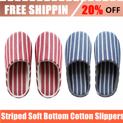 Striped Soft Bottom Home Cotton Slippers Women Indoor Anti-slip Warm Shoes P6