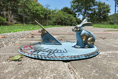"""Decorative Solid Bass Rabbit Sundial, Brass Bunny Sundial - 10"""" inches wide"""