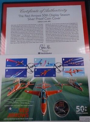 2014 First Day Cover Jersey Silver £5 Coin The Red Arrows  & Cert