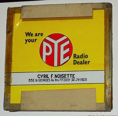 Vintage PYE Radio GLASS Theatre Cinema Advertising Slide Circa 1950's