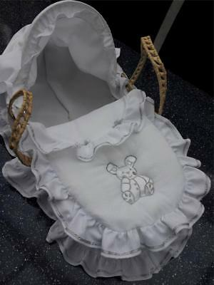 White Silver Bunny Dolls Moses Basket And  Stand