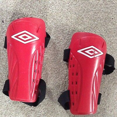 Boys Red Umbro Shin Pads