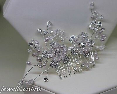 Diamante Ivory Pearl flower long Hair Comb Bridal Wedding Bridesmaid Accessories