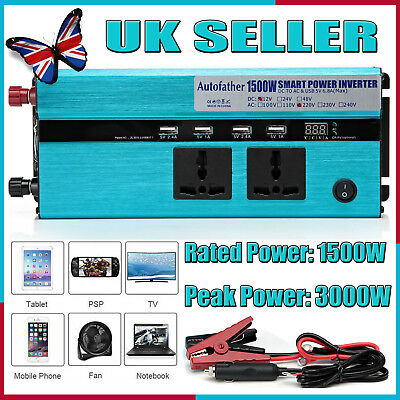 Car 1500W converter power inverter DC 12V to AC 210V - 230V invertor USB Charger