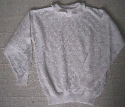 Vintage Girls Jumper - Age 10-12 - White Fancy Knit - Used