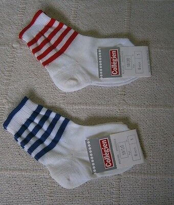 2 Pairs Vintage Quality Sox - Age 6 months - Red/Navy- Striped Tops -Cotton -New