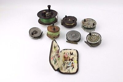 Collection of 7x Vintage Fishing Reels and Case of Fly Fishing Baits
