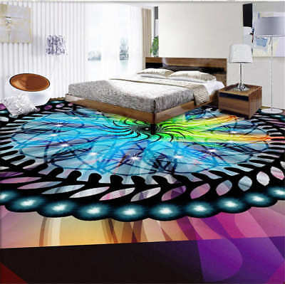 Colourful Pattern 3D Floor Mural Photo Flooring Wallpaper Home Print Decoration