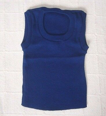 Vintage Ribbed Tank Top - Age 8-12 -Navy -Acrylic  - New