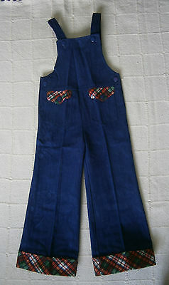 Vintage Brushed Denim Dungarees - Age 5 - Navy - Tartan Trim - New