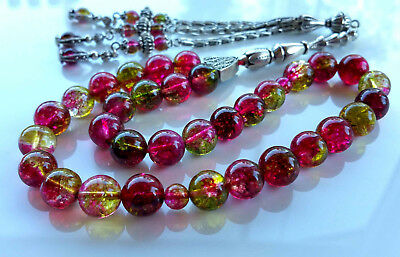 tourmaline watermelon stone 33  Prayer Worry Beads Tasbih Tasbeh