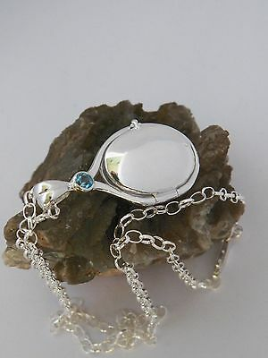 H2O Just Add Water Mermaids Locket  Pendant 925 Sterling Silver 4 mm Aquamarine